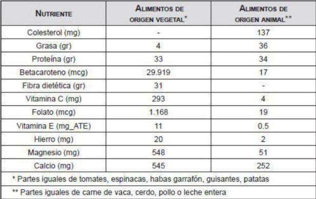 comparacion de vitaminas de los vegetales y la carne y lacteos